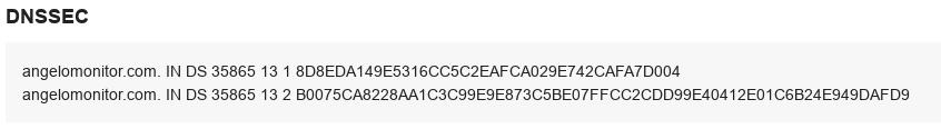 DS záznamy v detailu domény v CIS.