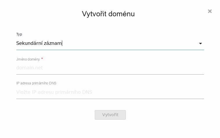 Nastavení domény pro sekundární server.