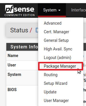 Výběr Package Manageru na screenshotu